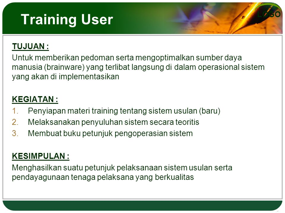 Training User TUJUAN :