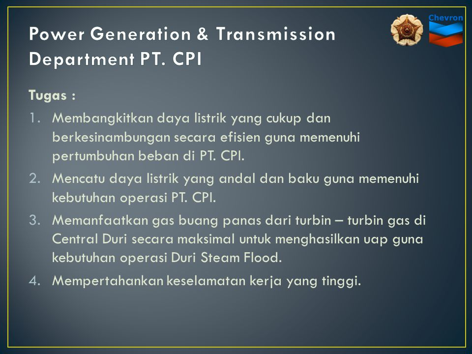 Power Generation & Transmission Department PT. CPI