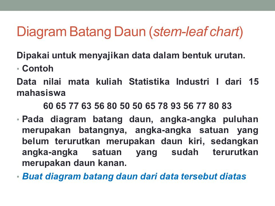 Statistika industri i penyajian data ppt download 9 diagram batang daun ccuart Images