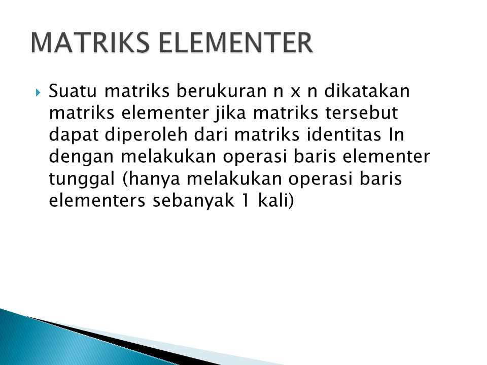 MATRIKS ELEMENTER