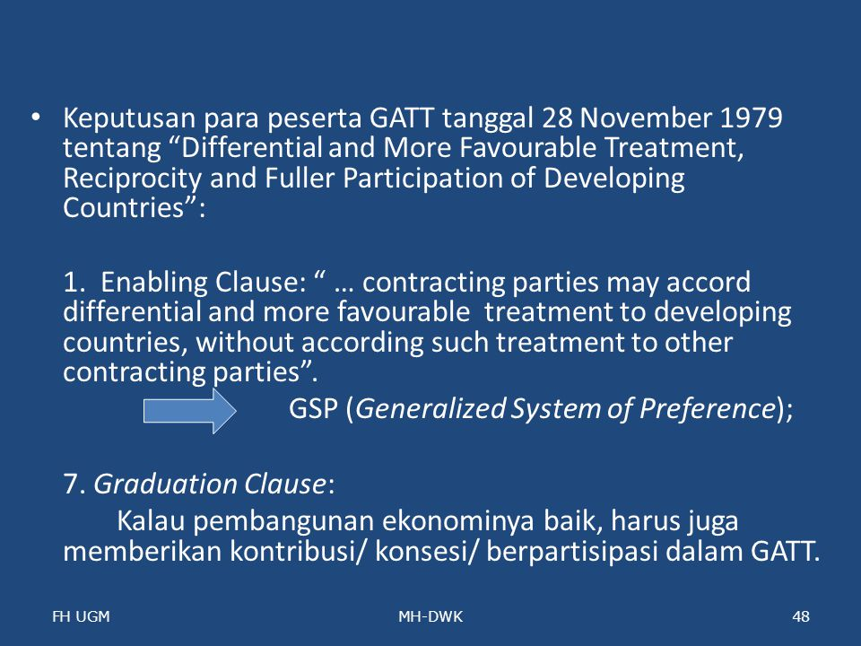 GSP (Generalized System of Preference); 7. Graduation Clause: