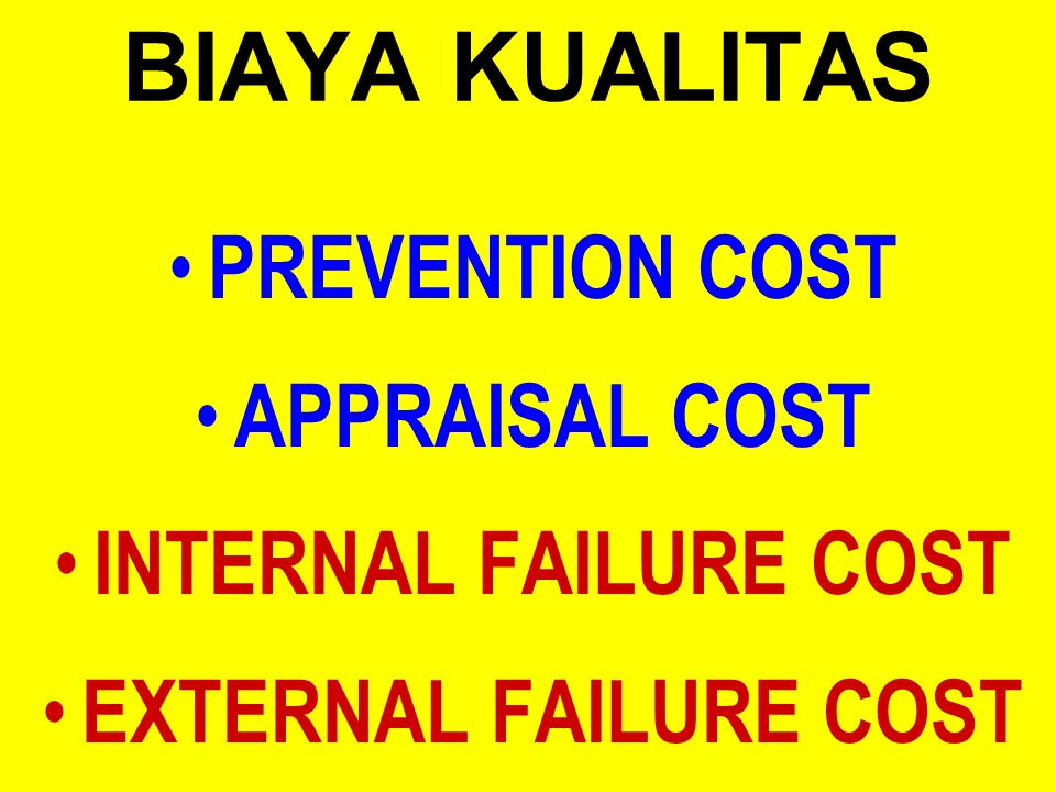BIAYA KUALITAS PREVENTION COST APPRAISAL COST INTERNAL FAILURE COST