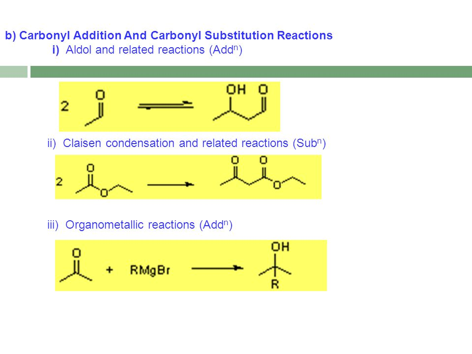 b) Carbonyl Addition And Carbonyl Substitution Reactions