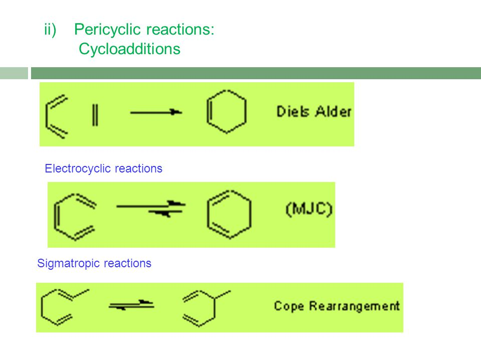 ii) Pericyclic reactions: