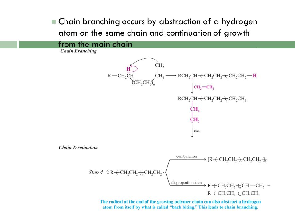 Chain branching occurs by abstraction of a hydrogen atom on the same chain and continuation of growth from the main chain