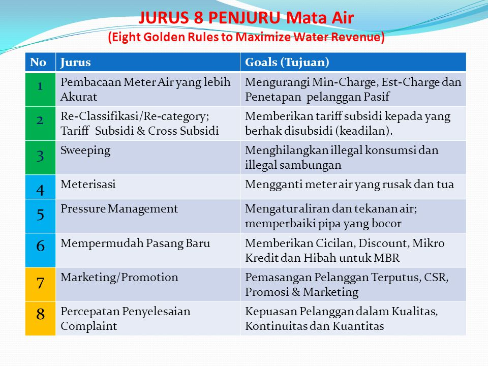 JURUS 8 PENJURU Mata Air (Eight Golden Rules to Maximize Water Revenue)
