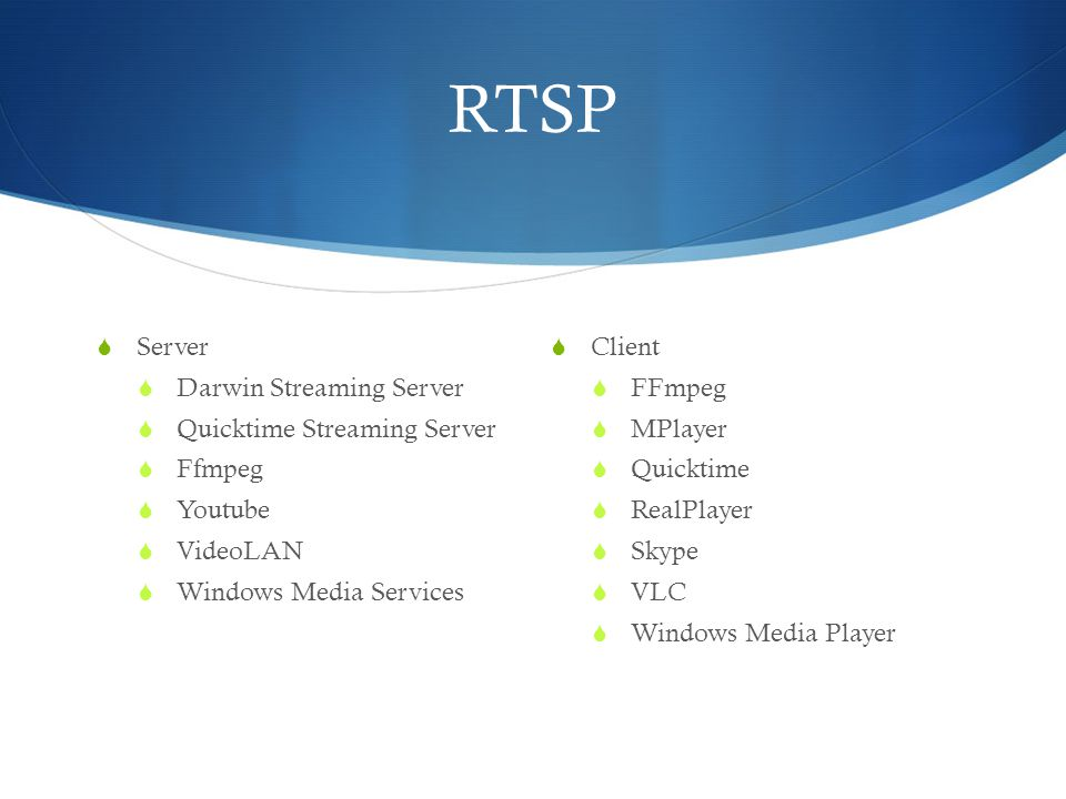 RTSP Server Darwin Streaming Server Quicktime Streaming Server Ffmpeg