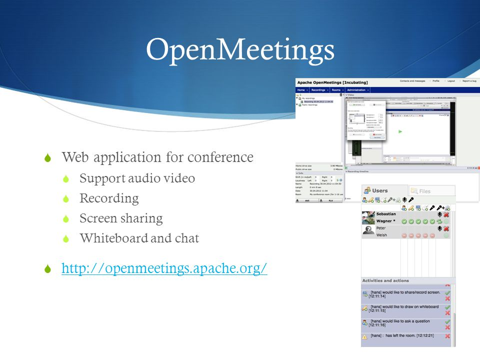 OpenMeetings Web application for conference
