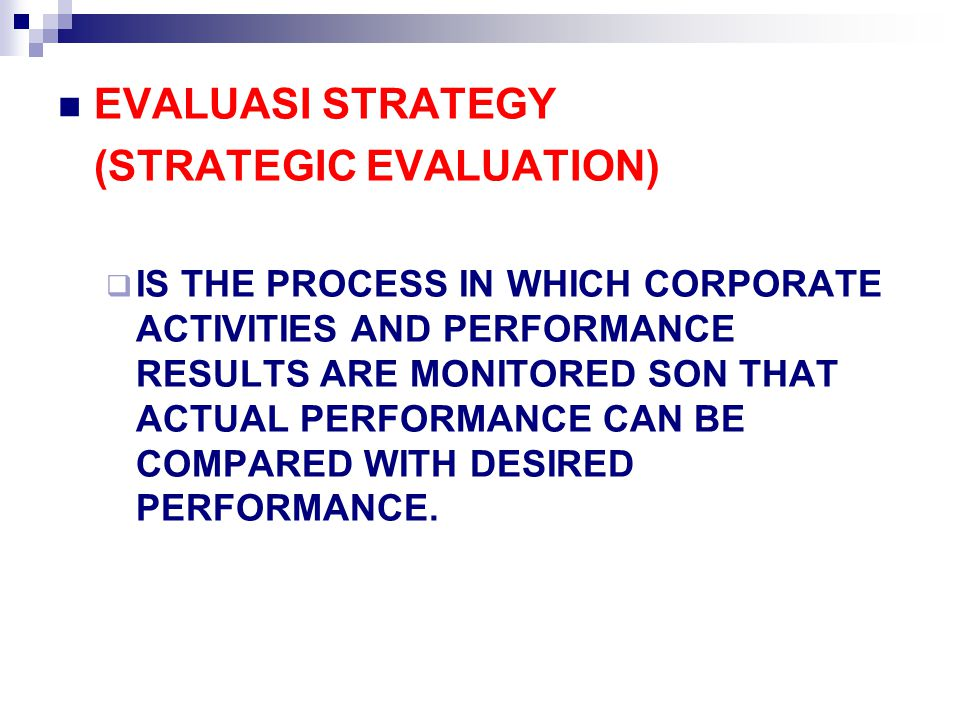 (STRATEGIC EVALUATION)