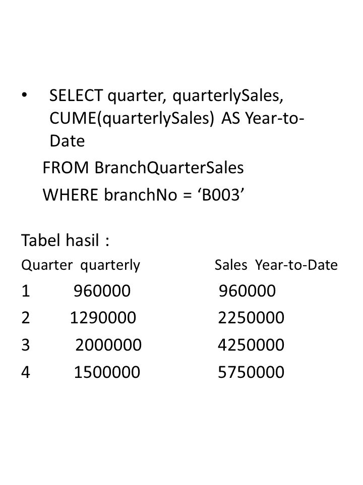 SELECT quarter, quarterlySales, CUME(quarterlySales) AS Year-to-Date