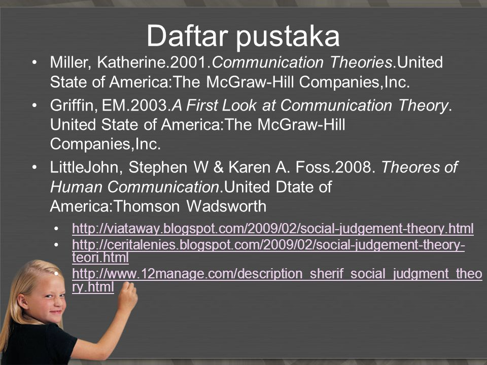 Daftar pustaka Miller, Katherine.2001.Communication Theories.United State of America:The McGraw-Hill Companies,Inc.