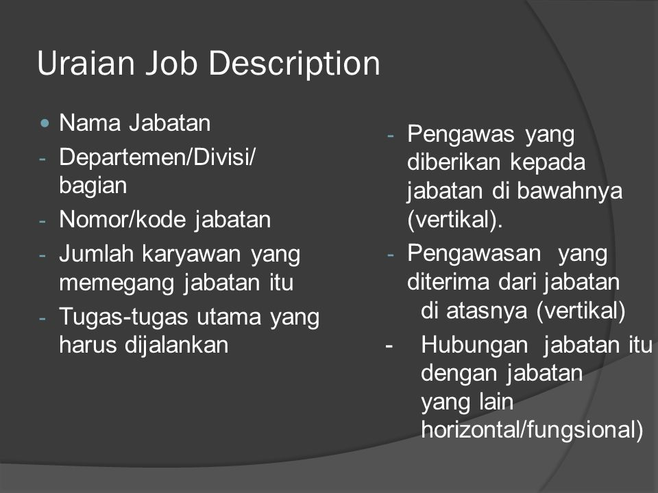 Uraian Job Description