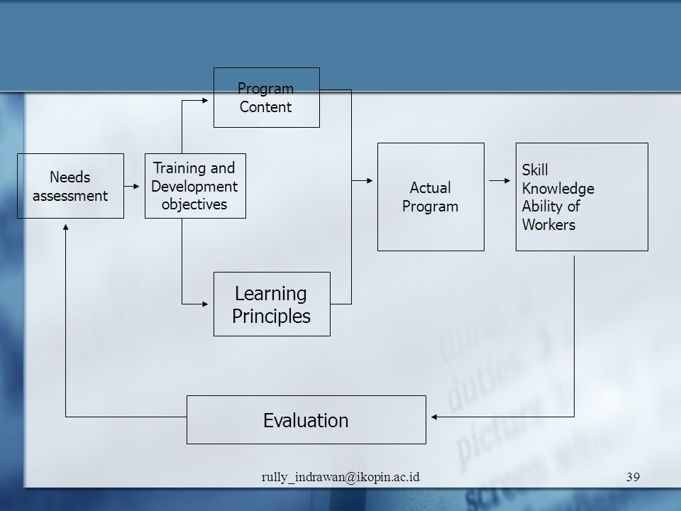 Learning Principles Evaluation Program Content Actual Program Skill