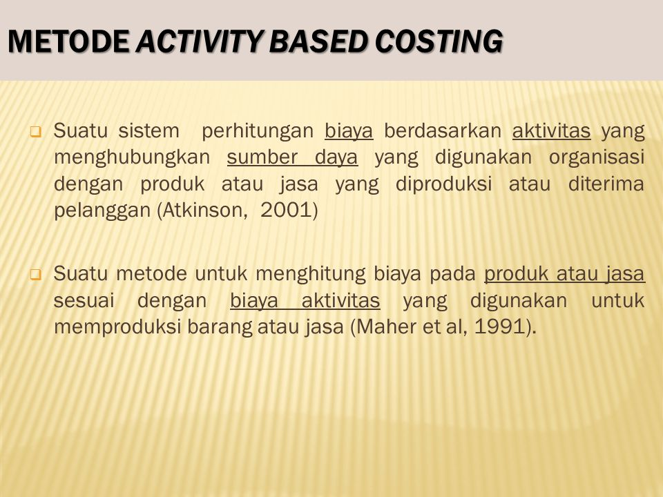 METODE ACTIVITY BASED COSTING