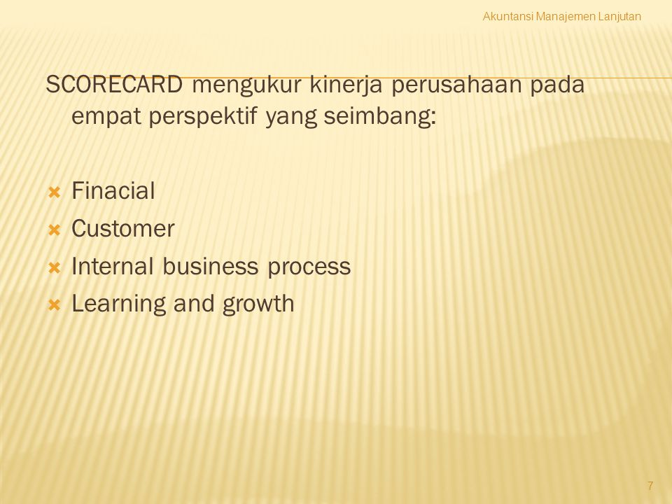 Internal business process Learning and growth