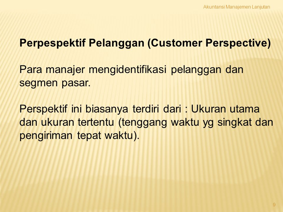 Perpespektif Pelanggan (Customer Perspective)