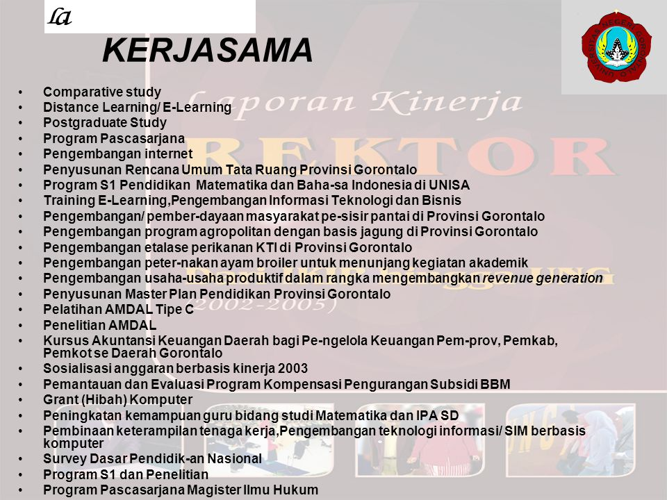 KERJASAMA Comparative study Distance Learning/ E-Learning