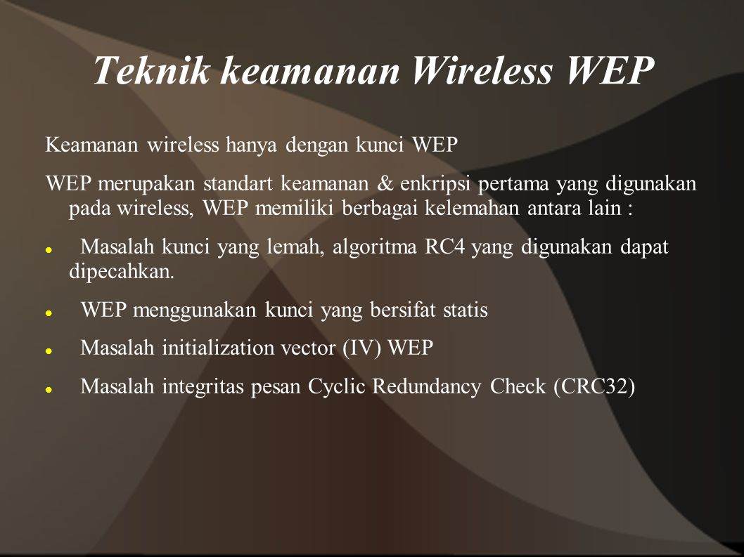 Teknik keamanan Wireless WEP