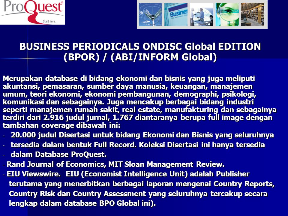 BUSINESS PERIODICALS ONDISC Global EDITION (BPOR) / (ABI/INFORM Global)