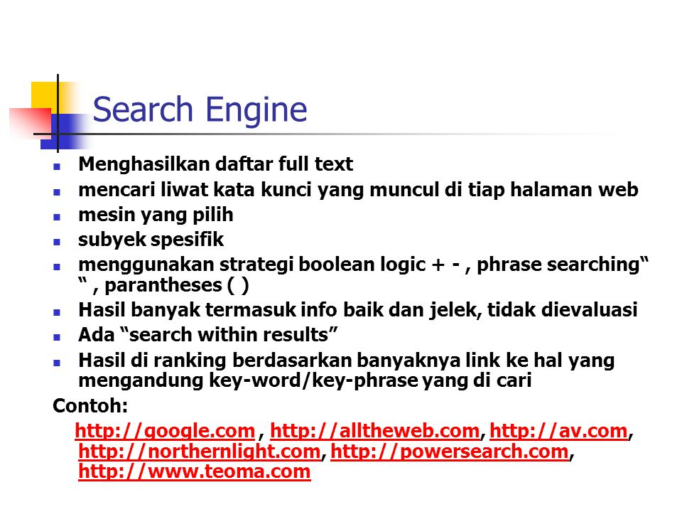 Search Engine Menghasilkan daftar full text