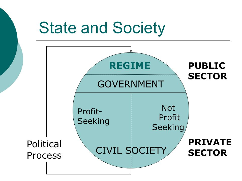 State and Society REGIME GOVERNMENT Political Process CIVIL SOCIETY
