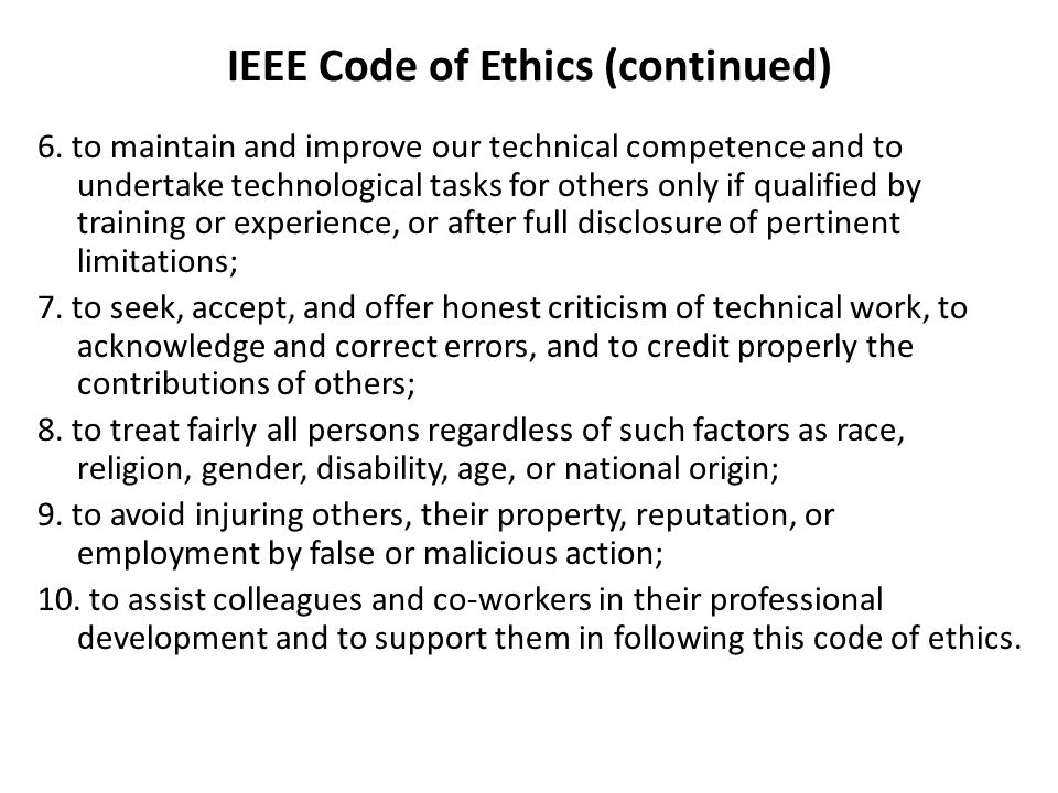 IEEE Code of Ethics (continued)