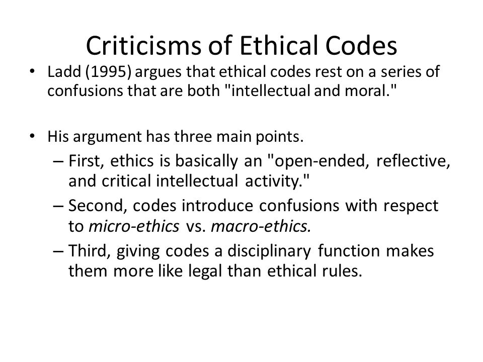 Criticisms of Ethical Codes