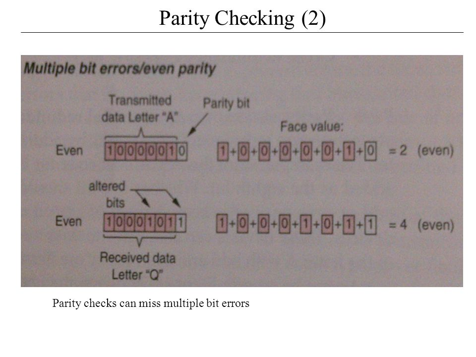 Parity Checking (2) Parity checks can miss multiple bit errors