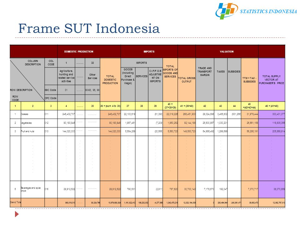 Frame SUT Indonesia DOMESTIC PRODUCTION IMPORTS VALUATION