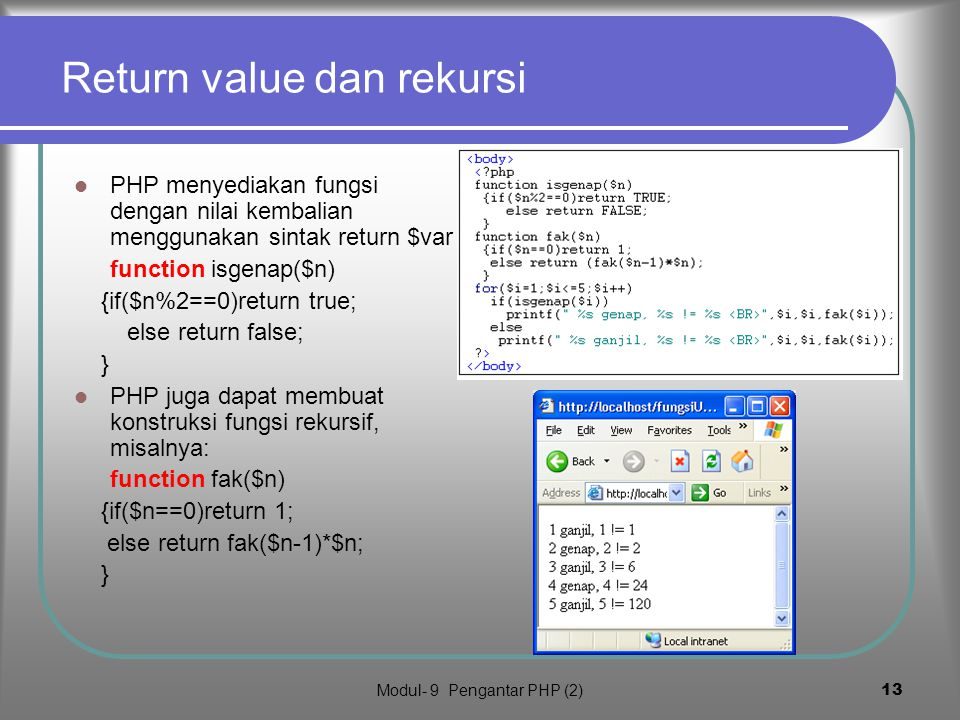 Return value dan rekursi