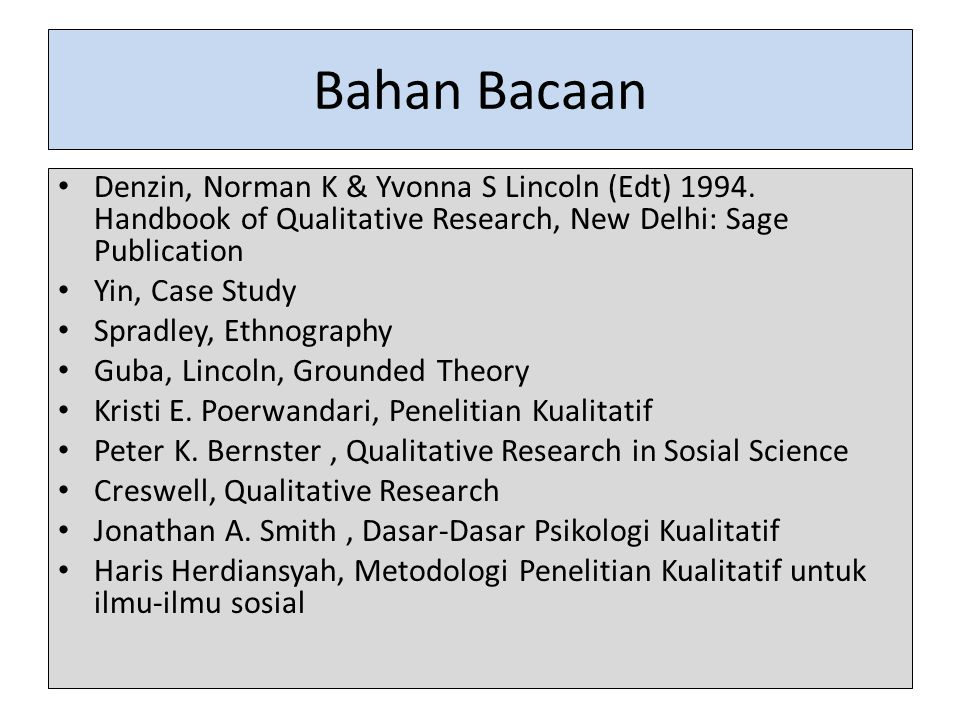 Bahan Bacaan Denzin, Norman K & Yvonna S Lincoln (Edt) 1994. Handbook of Qualitative Research, New Delhi: Sage Publication.