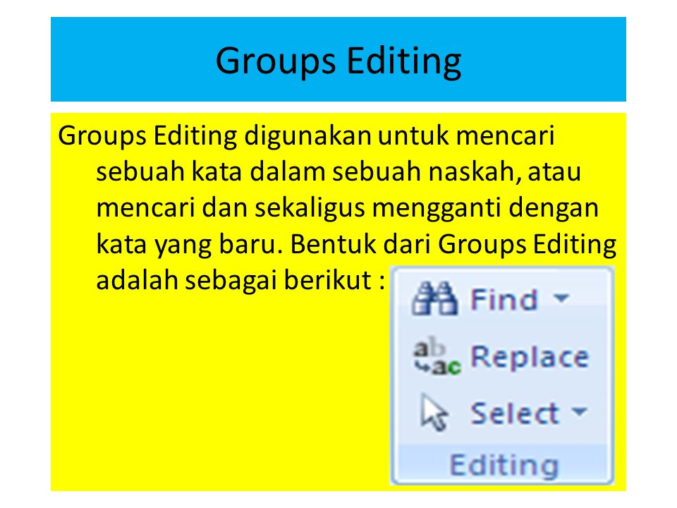 Groups Editing