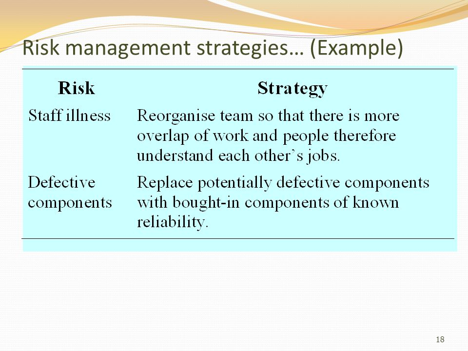 Risk management strategies… (Example)