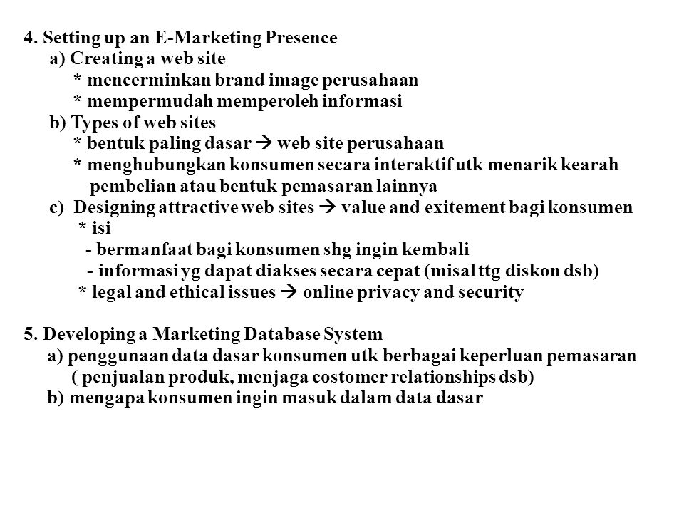 4. Setting up an E-Marketing Presence