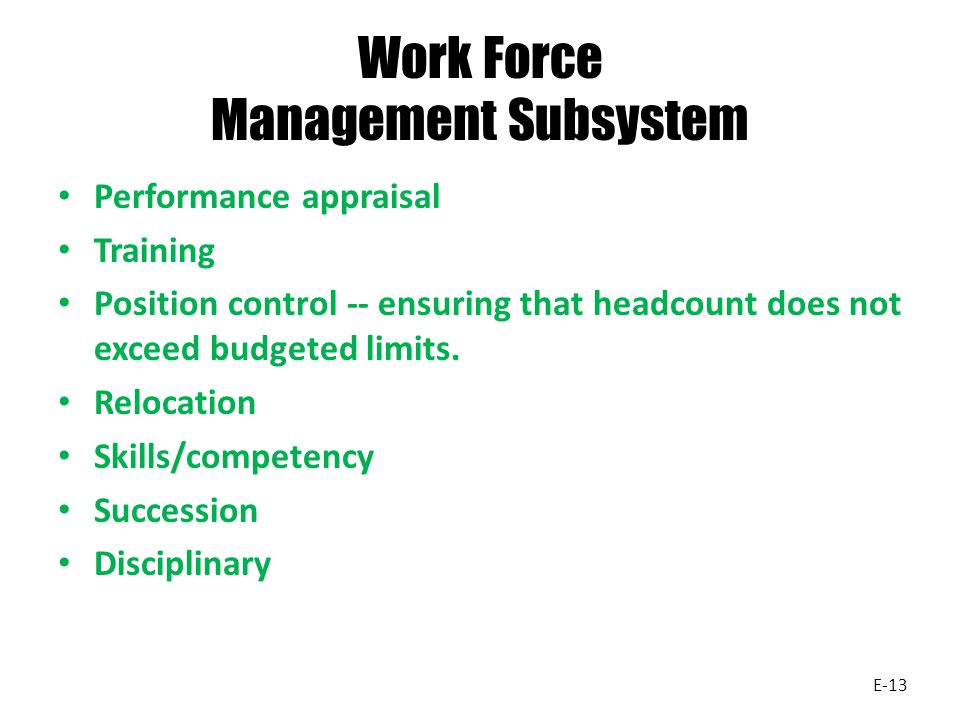 Work Force Management Subsystem