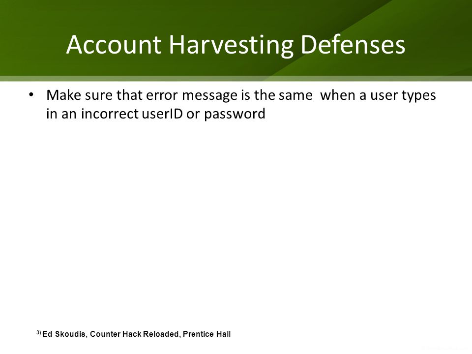 Account Harvesting Defenses