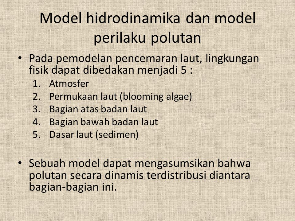 Model hidrodinamika dan model perilaku polutan
