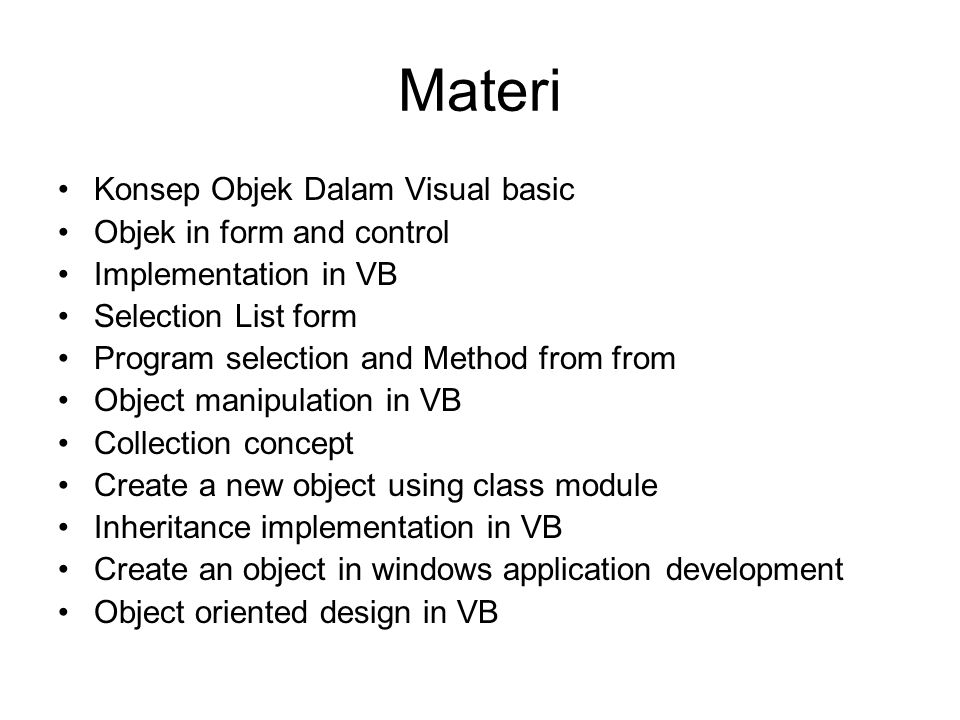 Materi Konsep Objek Dalam Visual basic Objek in form and control