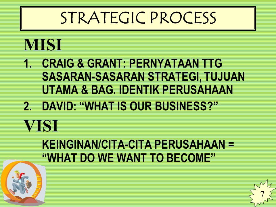 STRATEGIC PROCESS MISI VISI