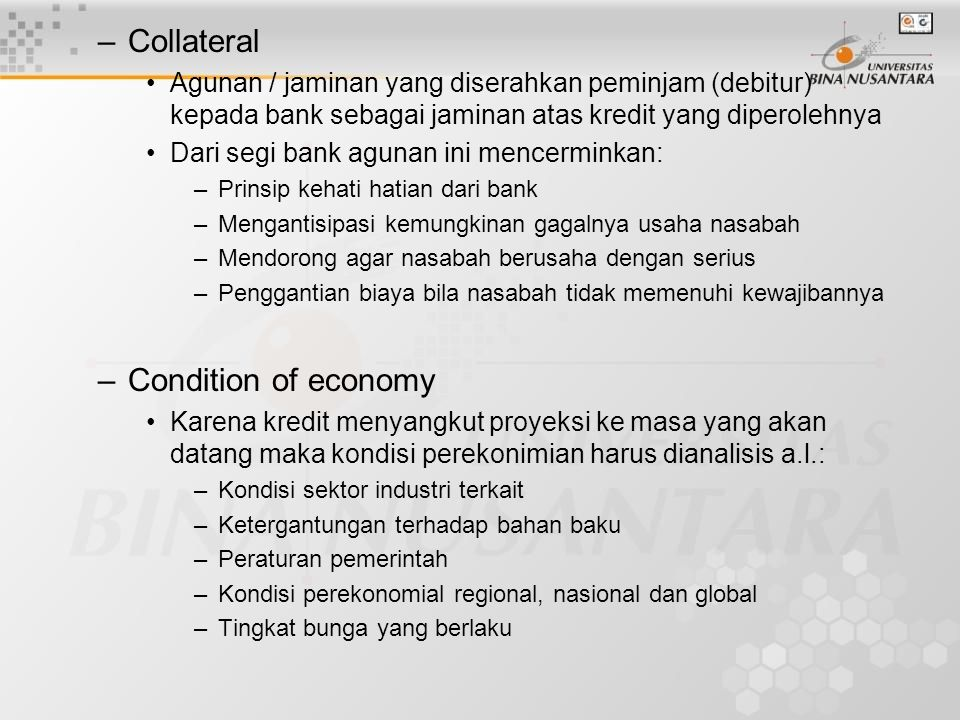 Collateral Condition of economy