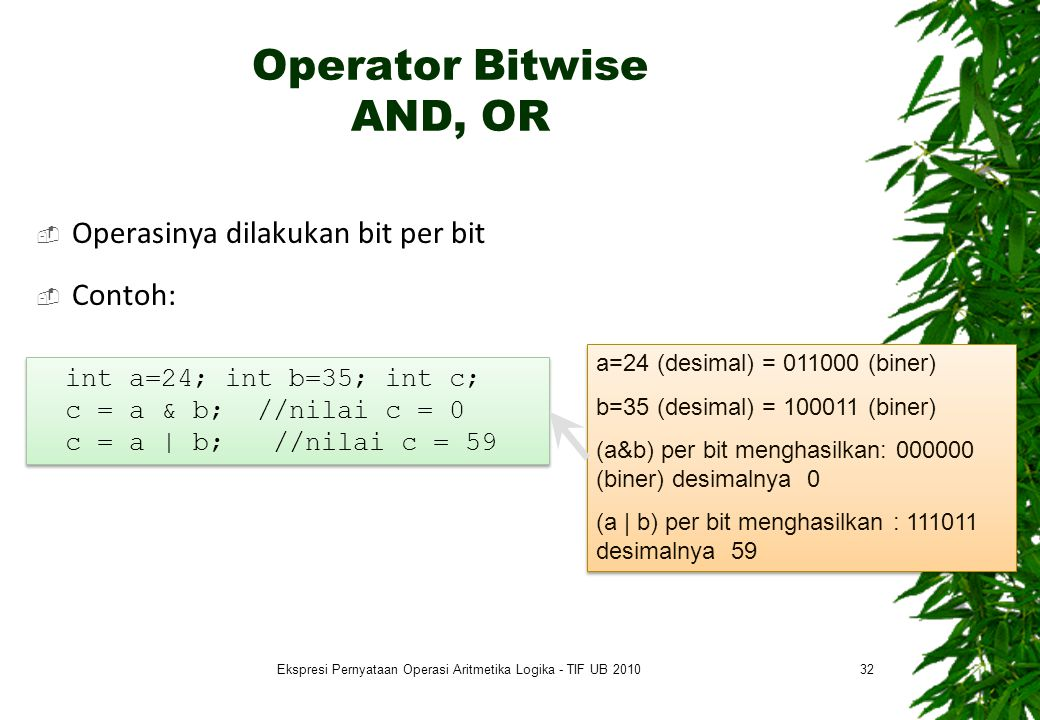 Operator Bitwise AND, OR