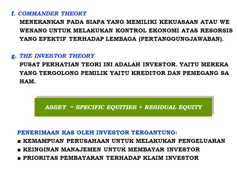 ASSET = SPECIFIC EQUITIES + RESIDUAL EQUITY