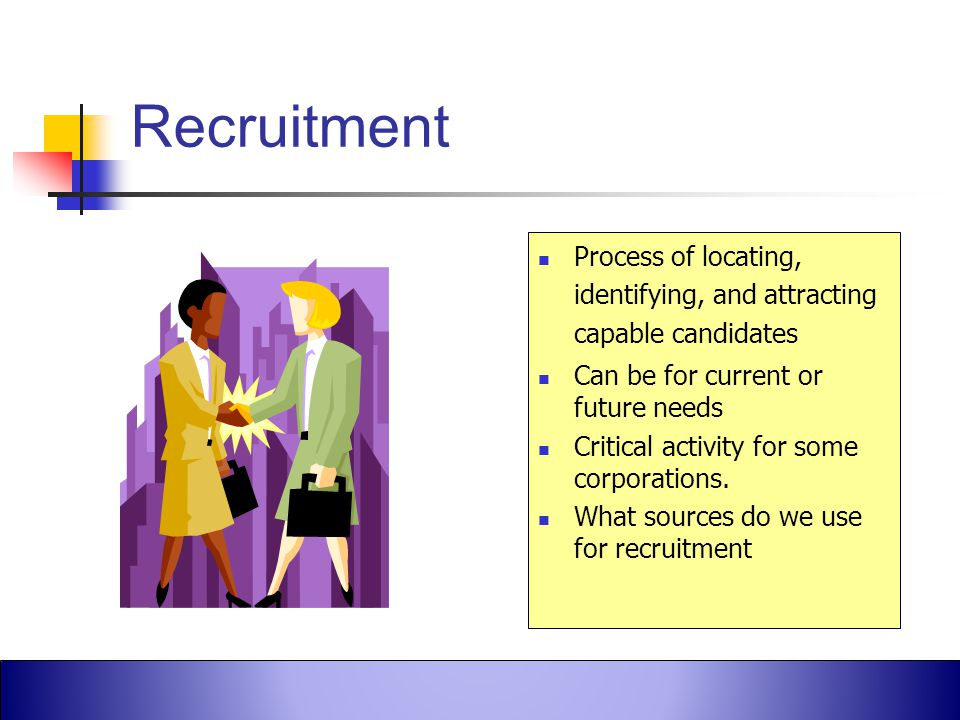 Recruitment Process of locating, identifying, and attracting capable candidates. Can be for current or future needs.
