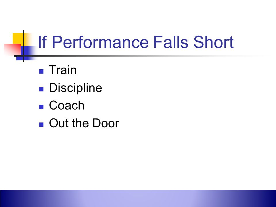 If Performance Falls Short