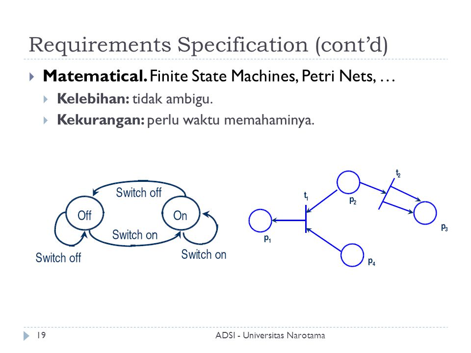 Requirements Specification (cont'd)