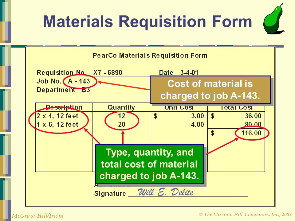 Materials Requisition Form