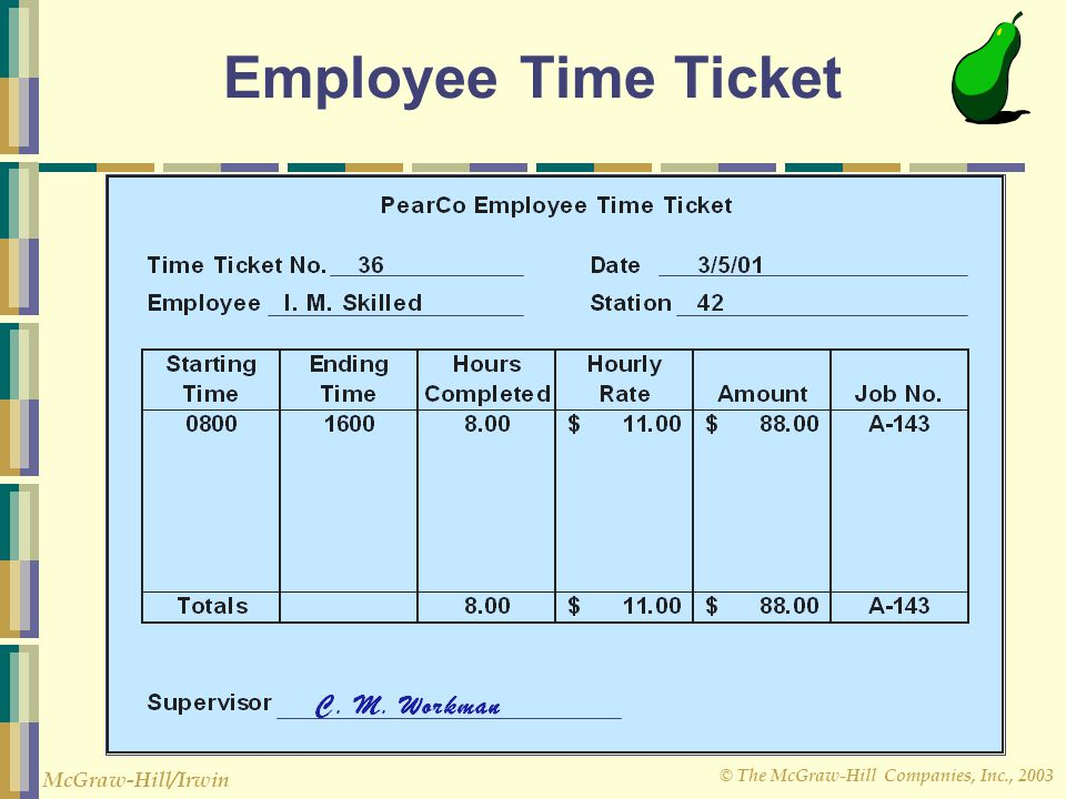 Employee Time Ticket