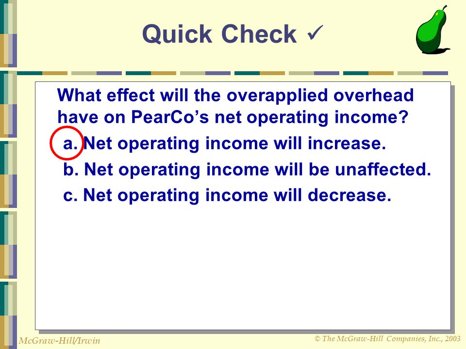 Quick Check  What effect will the overapplied overhead have on PearCo's net operating income a. Net operating income will increase.