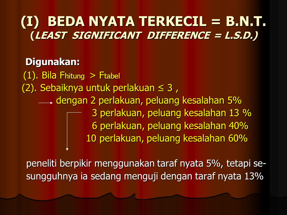 (I) BEDA NYATA TERKECIL = B.N.T. (LEAST SIGNIFICANT DIFFERENCE = L.S.D.)
