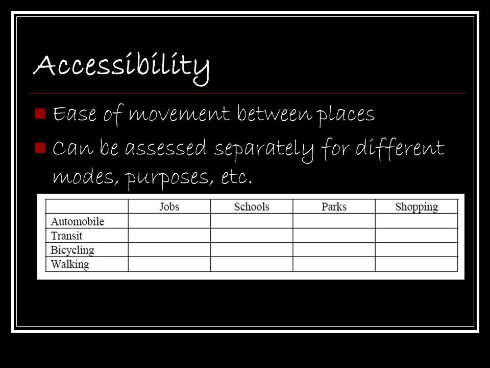 Accessibility Ease of movement between places
